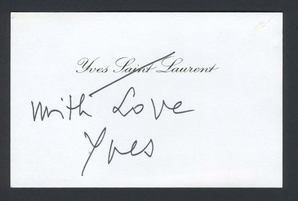 "Autograph Note, ""With Love, Yves"""