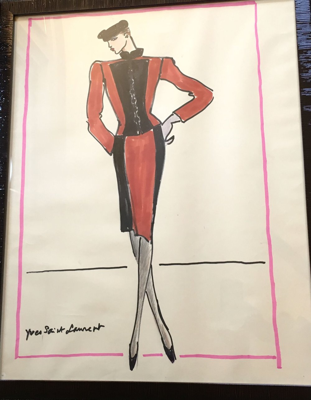 Ensemble in Red and Black - Signed Design for Dress and Jacket ca. 1985