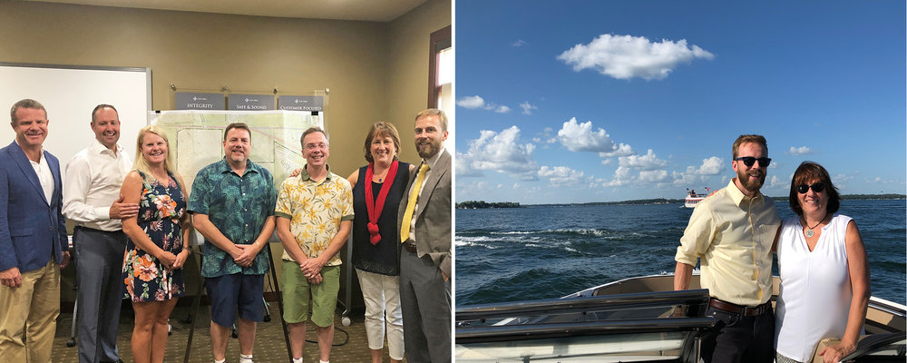 Pictured Left:  Core Committee Members Chuck Larson, Lance Evans, Tracy Evans, Tim Kinnetz, and Joren Kinnetz, along with Cindy Tyler and Rob Thompson   Pictured Right:  Rob and Cindy enjoying the grandeur of West Okoboji Lake