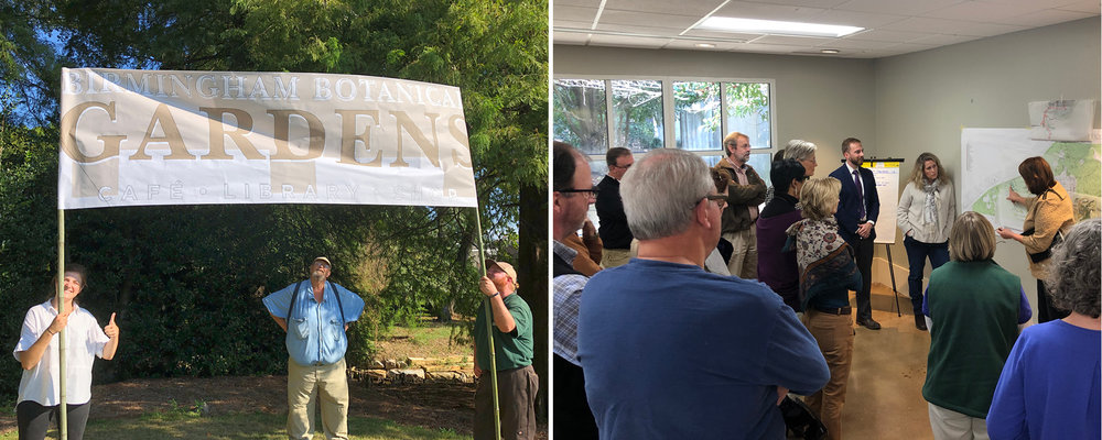 "Pictured Left:  Molly, Virgil and Adam lend a hand to check future identification sign location and size at ""The Point"" at the Birmingham Botanical Gardens!   Pictured Right:  Cindy and Rob in a charette session with the team."