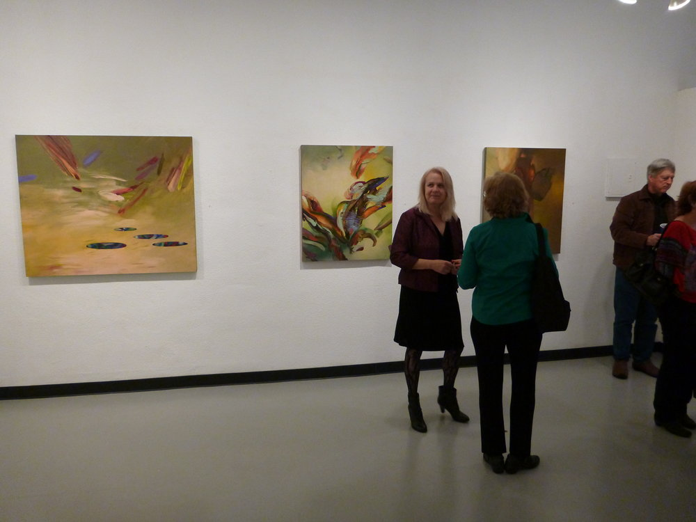 Lazzari at an opening reception for her artwork.