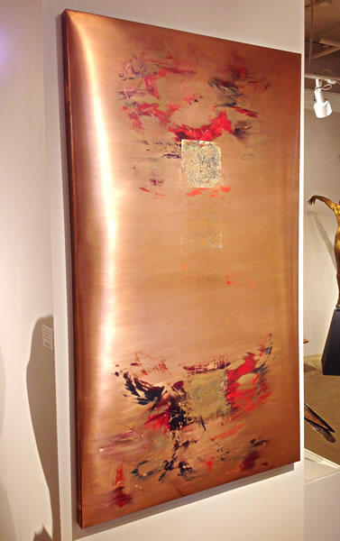 """Three Poems"" 56""h x 32""w gold leaf, pigments and chemicals on sheet copper by Marie Maretska"