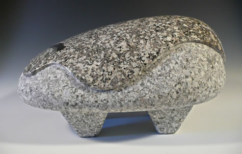 """Boulderness #5"" Carved Skykomish River Granite 14""W x 8""H x 11""D by Reg Akright"