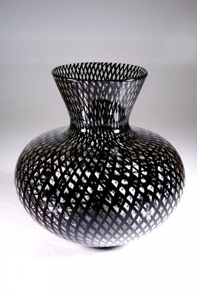 """""""Black Reticello Vase"""" Reticello Vessel Pattern made with Black Cane 11"""" x 11"""" x 11"""" by Bryan Rubino"""