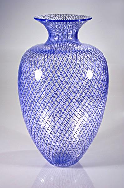 """Classical Blue Reticello Vase"" Reticello Vessel Pattern made with Blue Cane 10.25"" x 10.25"" x 17.25"" by Bryan Rubino"
