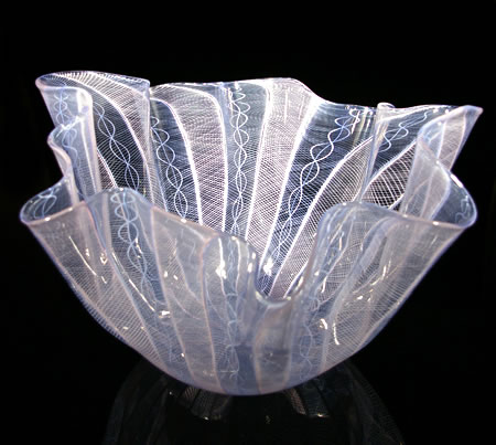 """Fluted Handkerchief Pink and Blue Vase 35"" 10""h x 16.5""w x 15.5""d by Bryan Rubino"