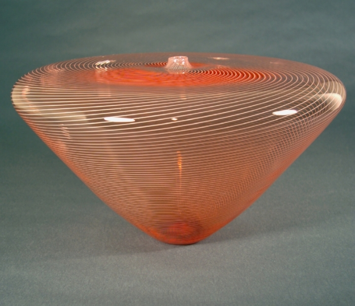 """Salmon Vase, Twisted Cane"" by Bryan Rubino 10""H x 17""W x 17""D"