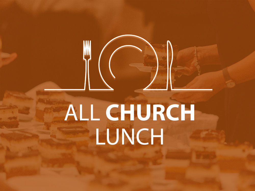 ALL CHURCH LUNCH   March 3, 12:30pm  Gym  Everyone welcome!  Cost: $8/adult, $5/child under 12 (Tickets at the Automated Giving Centre)