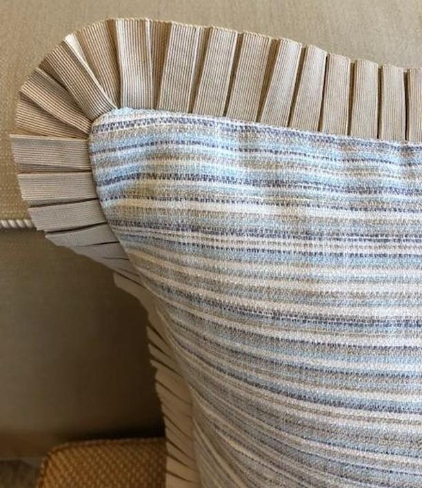 Pillow details give a feminine flair!  #atlantacustominteriors #custompillows #custompleatedtrim #funtrim #itsallinthedetails #customworkroom #lovemyjob #funpillows #feminineflair