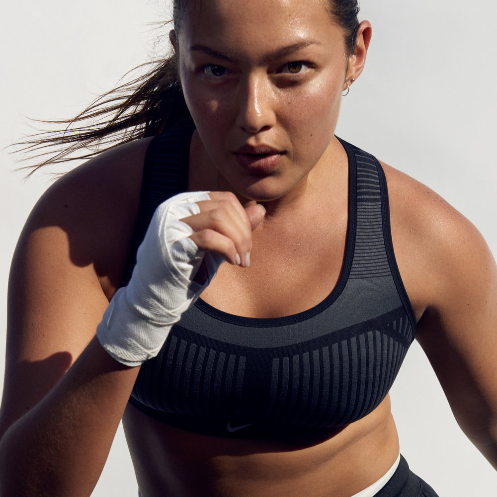 Mia Kang for Nike's FE/NOM Flyknit bra campaign. (Photo: Nike.com)