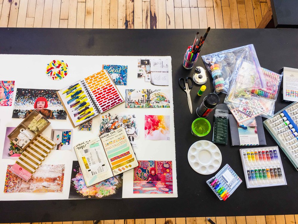 All my supplies that I gathered – my journals/sketchbooks, pens, paint, stickers, washi tape, tissue paper, etc.