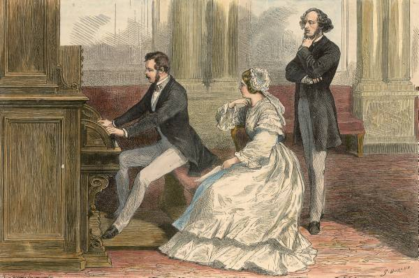 Engraving of Prince Albert performing on his organ in the Old Library in  Buckingham Palace  in presence of  Queen Victoria  and  Felix Mendelssohn  in 1842 by G. Durand.