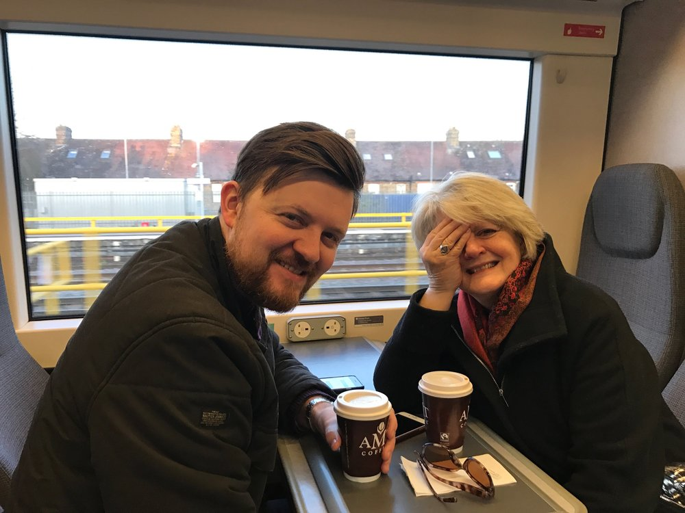Joel and Sally on the train into London for the eye specialist appoiintment.