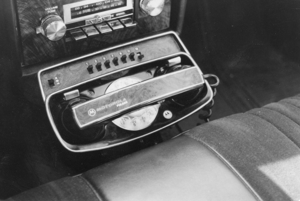 My first car phone, a Motorola Pulsar I, in 1980.