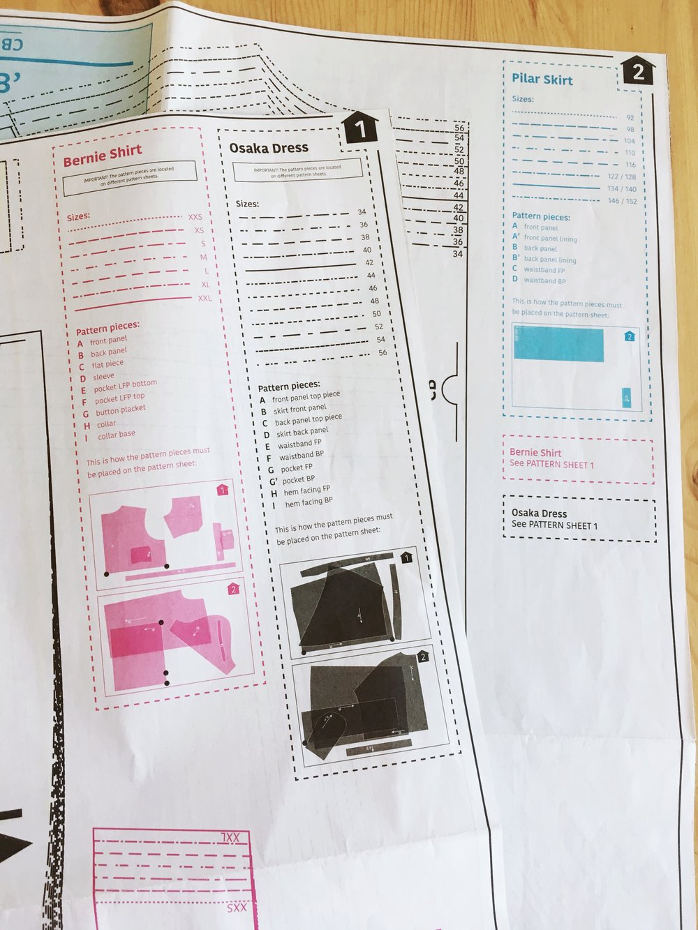 Pattern outlines are color coded. Here the Bernie shirt is outlined in pink and the color coded diagram shows the location and orientation of each pattern piece. Bernie is continued on page 2