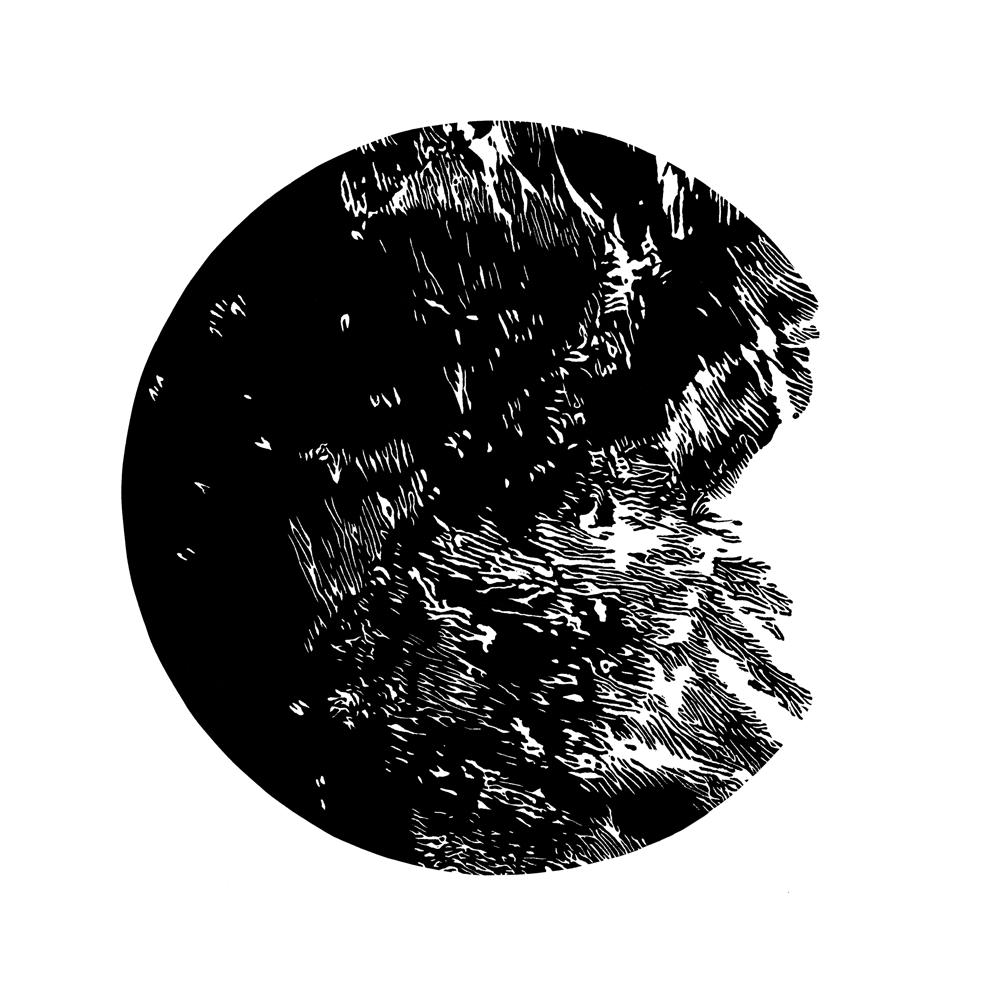 """5/6, linocut, """"Europa"""", 23cmØ, 2018"""