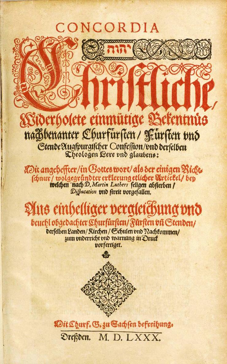 Book of Concord, 1580 edition.