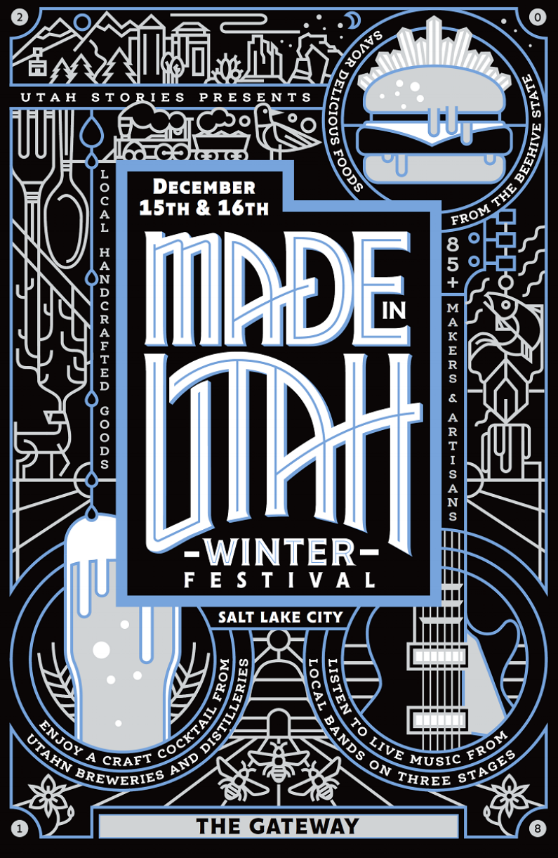 Made in Utah Winter Fest - It is a free and family-friendly festival that will take place at The Gateway on Saturday December 15th (Noon - 8 pm) and Sunday December 16th (noon - 6 pm), 2018.It is organized by Utah Stories Magazine and it is focused on the promotion of the best of local Utah businesses, artists, artisans, food producers, breweries, distilleries, wineries and musicians.The goal of this event is to promote shopping locally for the Holidays.☆ APPLICATIONS• Interested vendors can learn more details and apply at Winter Fest Vendor Info.• Music bands and artistic performers can apply right here. All performances are on voluntary basis.• Volunteers can apply right here. Made in Utah Festivals could not happen without the support of volunteers from our community!☆ SPONSORSHIP OPPORTUNITIESYour commitment to become a festival sponsor will help our growing festival community where consumers and businesses collaborate and learn from each other. Our festivals are very well attended, drawing over 6,000 - 11,000 visitors to each event annually. We offer different type of sponsorship packages to find the best opportunities for you to promote your business and support Utah makers. Would you like more information? Submit an Interest Form and we will reply as soon as possible.For other questions, please email us at madeinutah@gmail.com and we will assist you!
