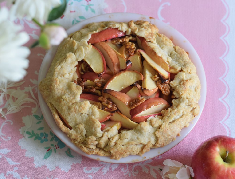rustic apple and walnut galette