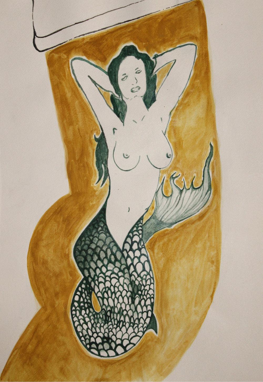 "backyard tattoo   watercolor on paper  11"" x 15""  2013"
