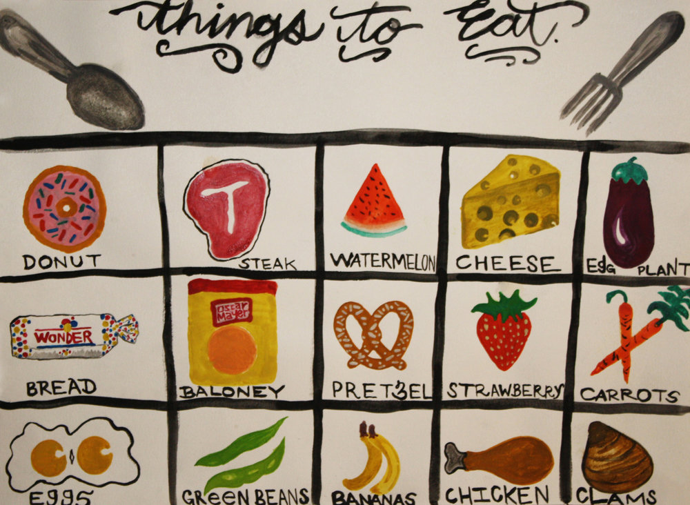 "things to eat   watercolor on paper  11"" x 15""  2013"