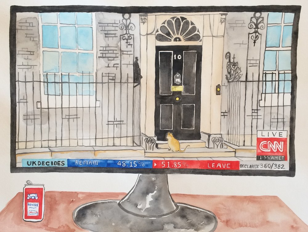 "10 downing   watercolor on paper  18"" x 24""  2016"