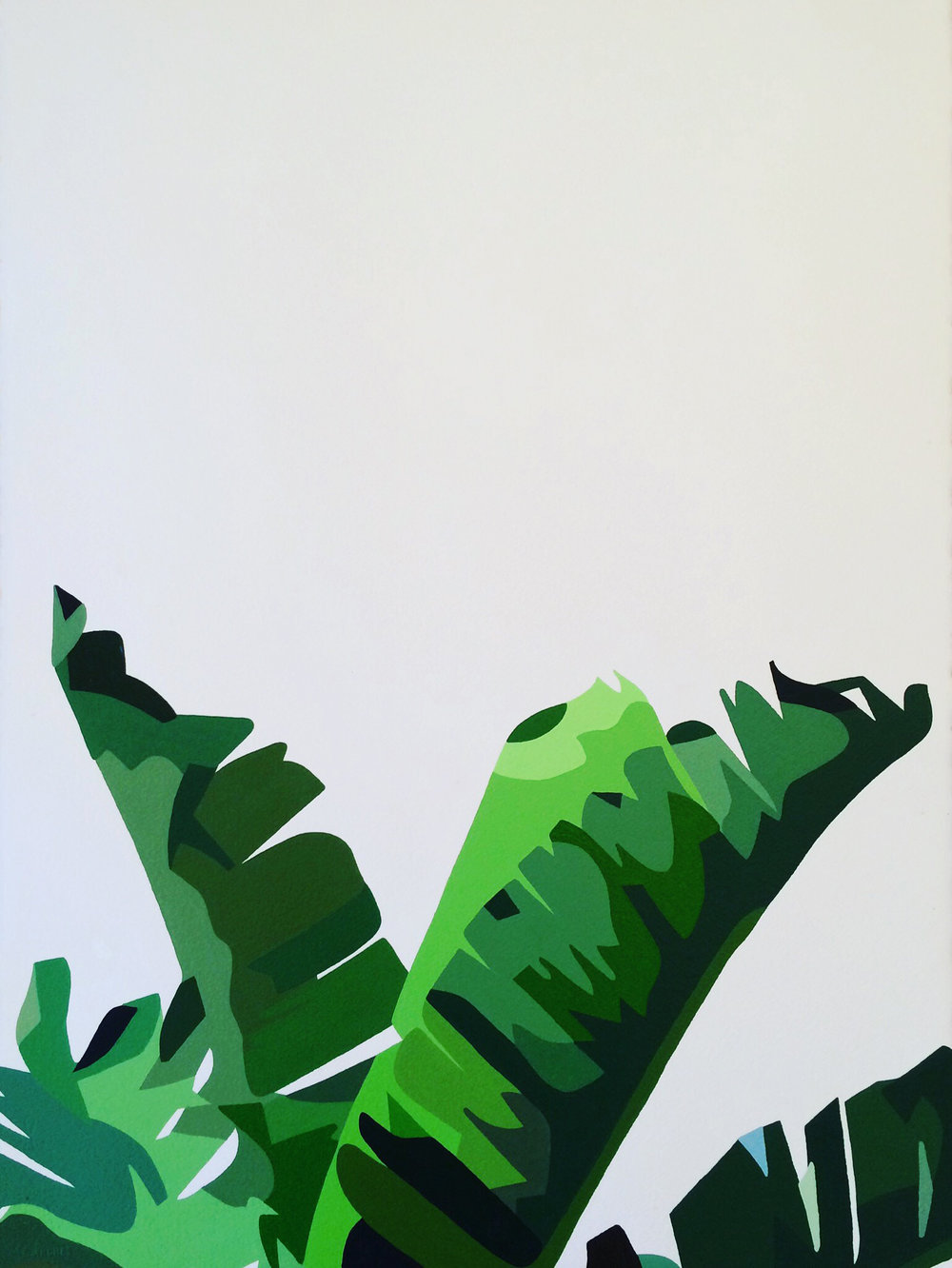 "banana leaves #2   acrylic on paper  22"" x 30""  2017"
