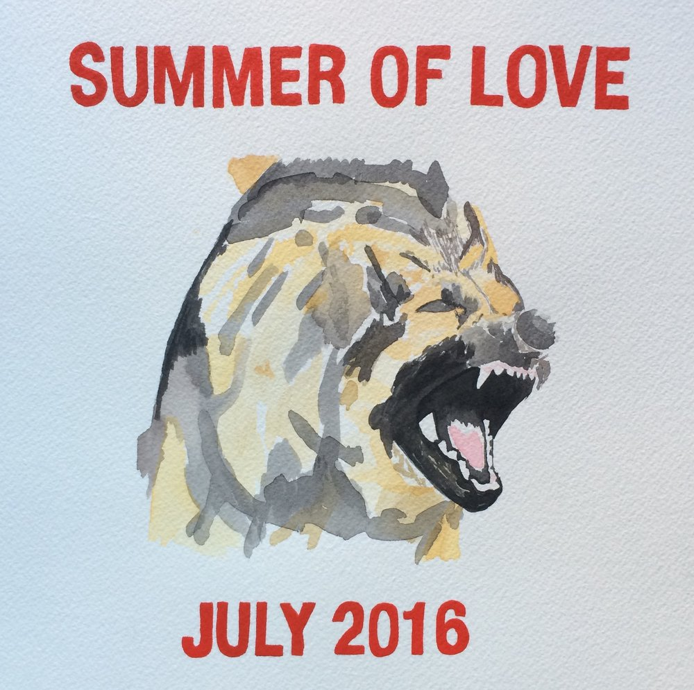 "summer of love   watercolor on paper  12"" x 12""  2016"
