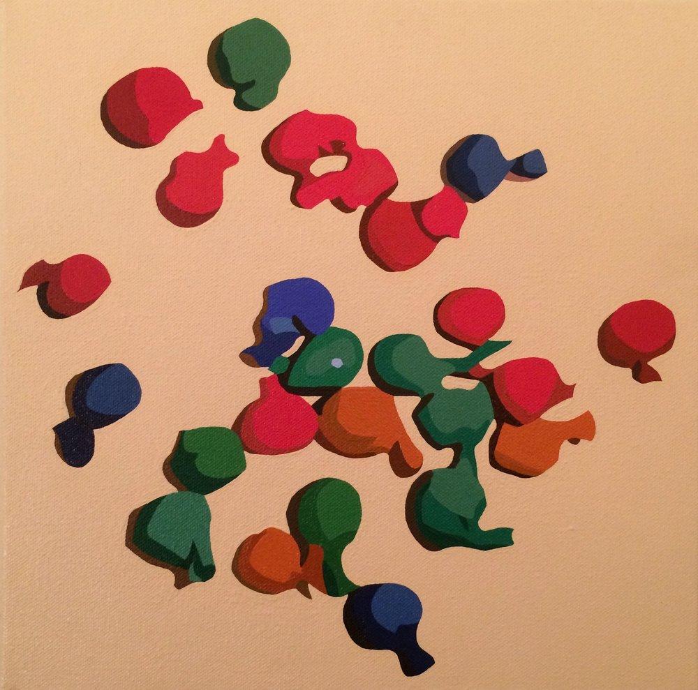 "balloons   acrylic on canvas  12"" x 12""  2017"