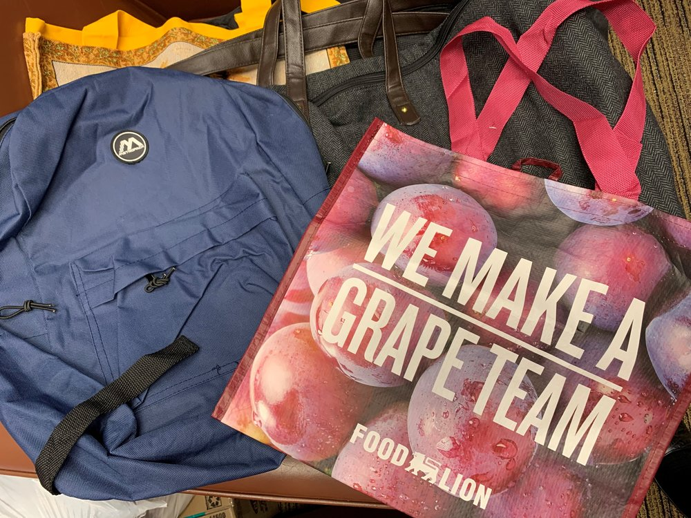 """Rolling suitcase, Backpack and Tote Bag Drive - As hard as it may be for most of us to imagine, many of the women we serve carry all of the items they own with them each day. Please help """"lighten their load"""" by hosting a drive to collect rolling suitcases, backpacks, cloth tote bags and recycled grocery bags."""