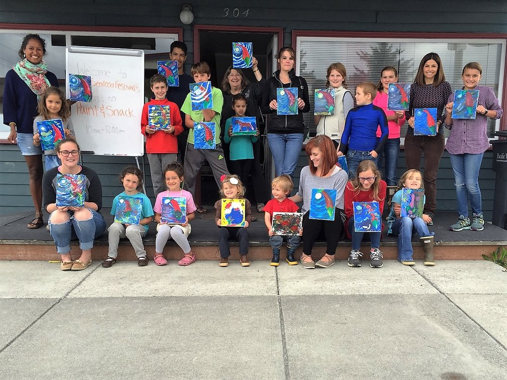 Sitka Seafood Festival's first ever kid-friendly paint and Snack, hosted at The Island Institute on 8/4/18