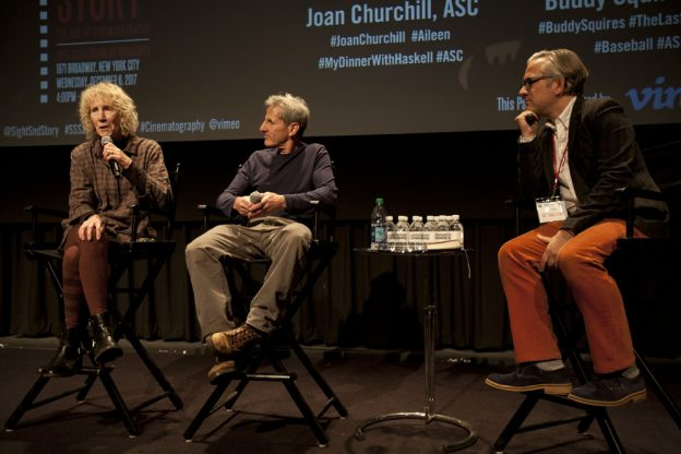 L-R: Joan Churchill, ASC, Buddy Squires, ASC and moderator Hugo Perez .