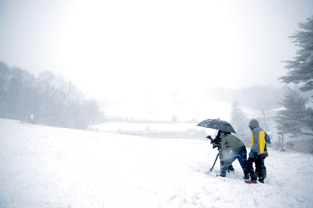 Crew filming snow at Kuerner Farm