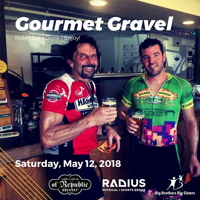 Hey👋, bike riders 🚴‍♂️🚴‍♀️! Tickets are available for the annual @gourmetgravel ride + 🍔🥗🍖eat & 🍻drink event coming up on May 12th. It's going to be a 🌞 beautiful day filled with gorgeous riding, yummy food and delicious drink at Ol' Republic Brewery. Bonus: it's also a fundraiser for Big Brothers Big Sisters of Nevada County and North Lake Tahoe. Radius Physical + Sports Rehab will be out in full force offering complimentary Athlete Services to riders and friends! See you there!  Link in bio.  #biking #cycling #mountainbiking #mtb #injuryprevention #sportsrehab #athleteservices #community #nevadacity