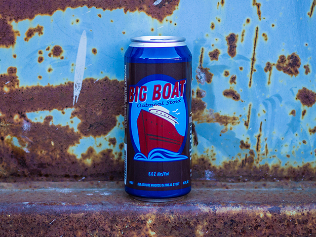 Big Boat Oatmeal Stout - Oatmeal Stout6.6% ABV45 IBUThis ale is large in body and beautiful pitch black in the glass. Our stout is brewed with 15% oatmeal to increase mouthfeel and a sensation of rich velvet body on the tongue. Notes of dark chocolate and coffee, balanced by English hops and a clean lingering finish.
