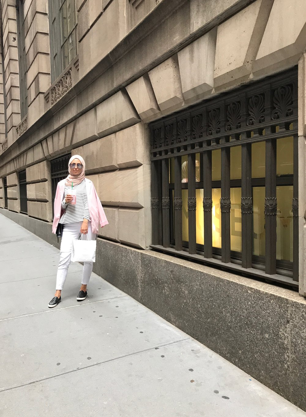 WHEN IN NYC, walking is required so comfortable shoes are a must!  Blazer: Forever 21  Striped Top: Verona Collection  White jeans: Forever 21  Shoes: Geox