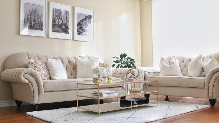 Living Room Tour White Beige Gold Decor H A N A N