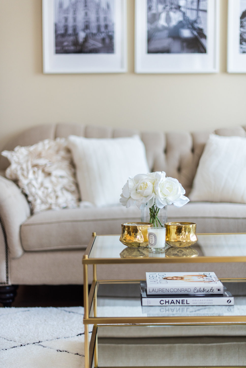White Beige And Gold Living Room