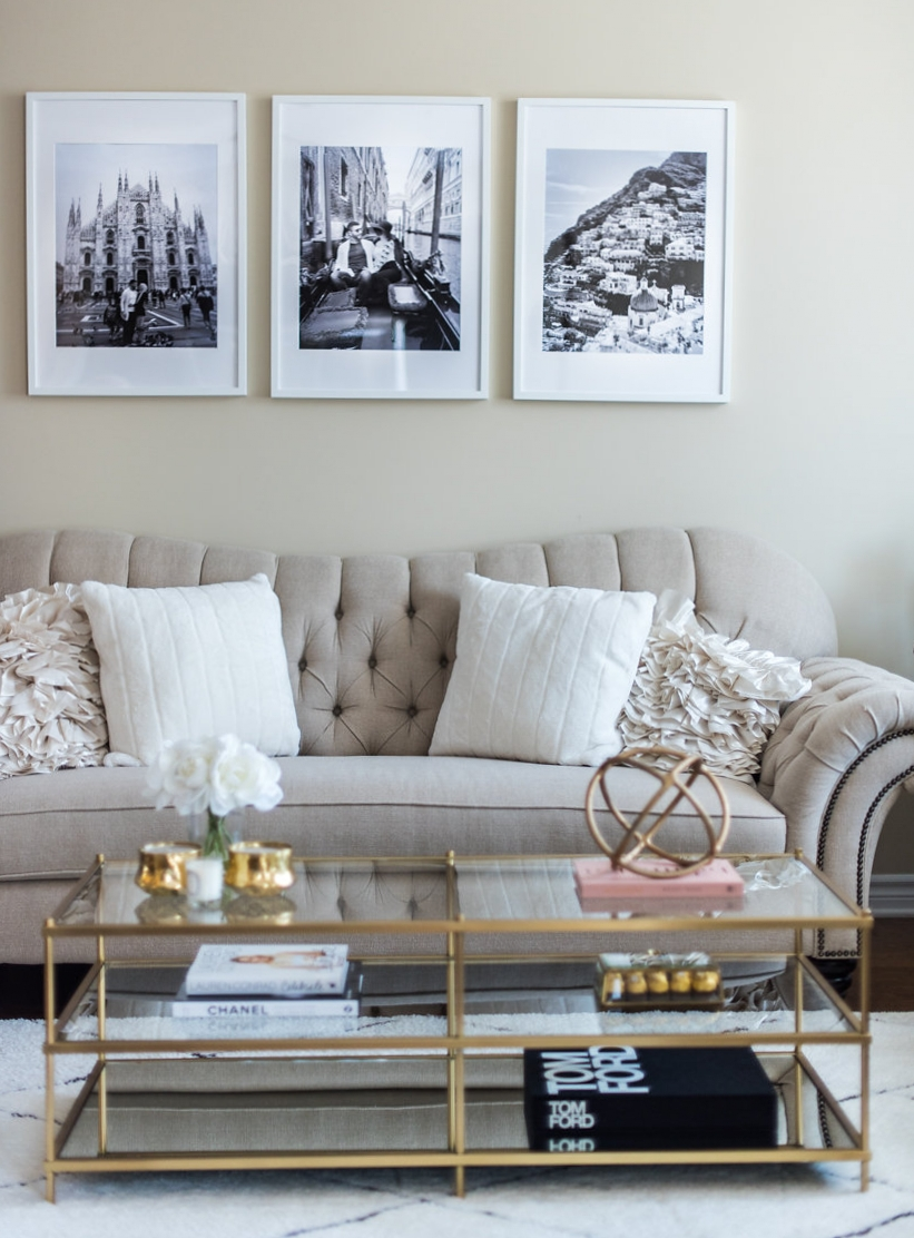 Living room tour white beige gold decor h a n a n - White and gold room decor ...