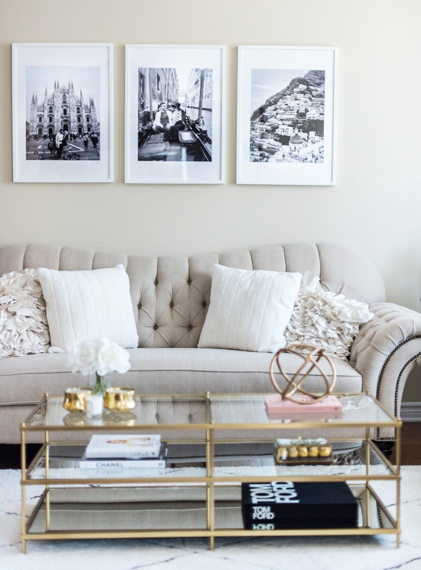 Living Room Tour - White, Beige, Gold Decor — H A N A N