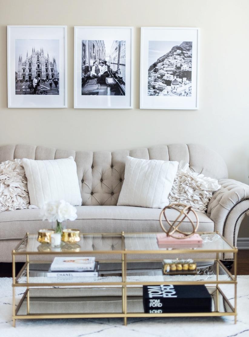 Living Room Tour   White, Beige, Gold Decor