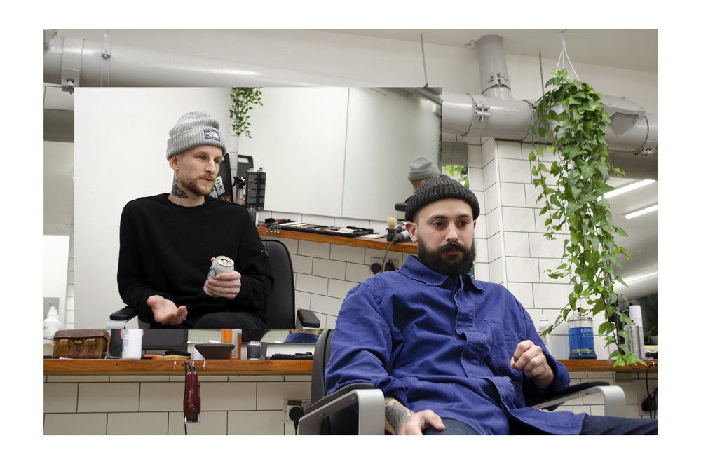 Rob waxing lyrical and Aaron thinking about the next batch of hair wax