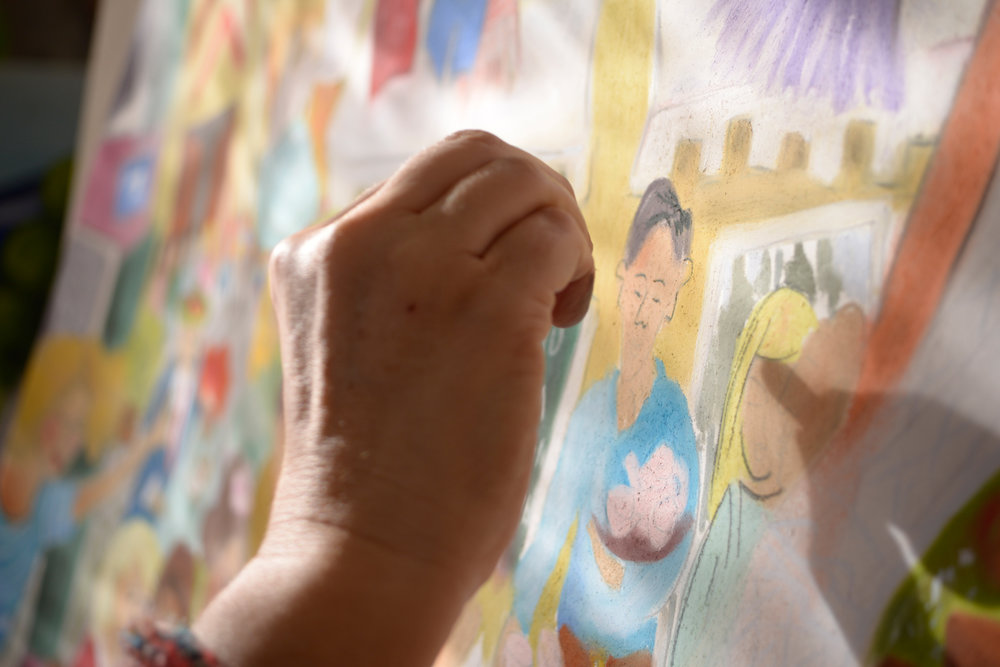 hand on painting