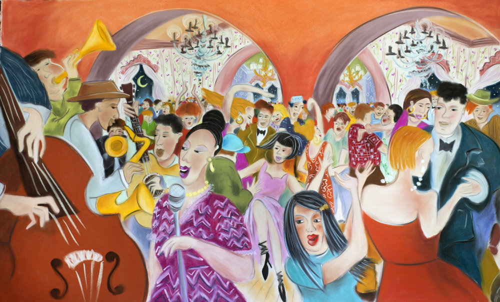 "Jazz Club, pastel on paper, 36"" X 52"", prints available in various sizes"