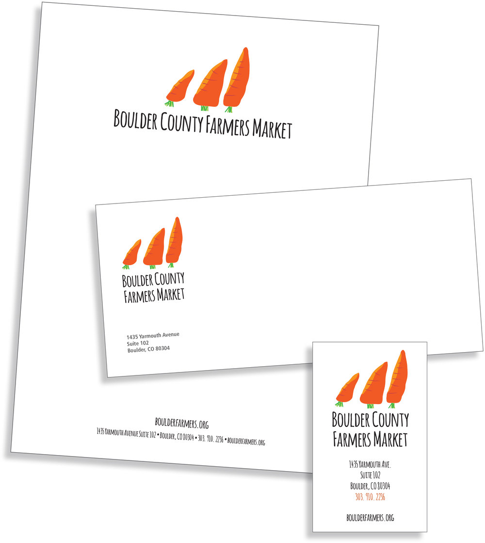 Logo and stationery design for Boulder County Farm Market (echoeing the Flatirons, signature foothills above Boulder)