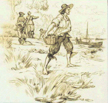 English settlers gathering oysters around the Bay, by Sydney White. Image from  NPS .