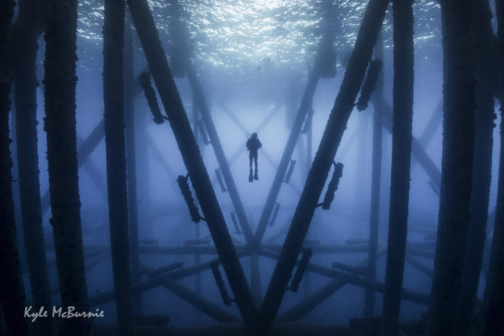 Diving in an oil rig