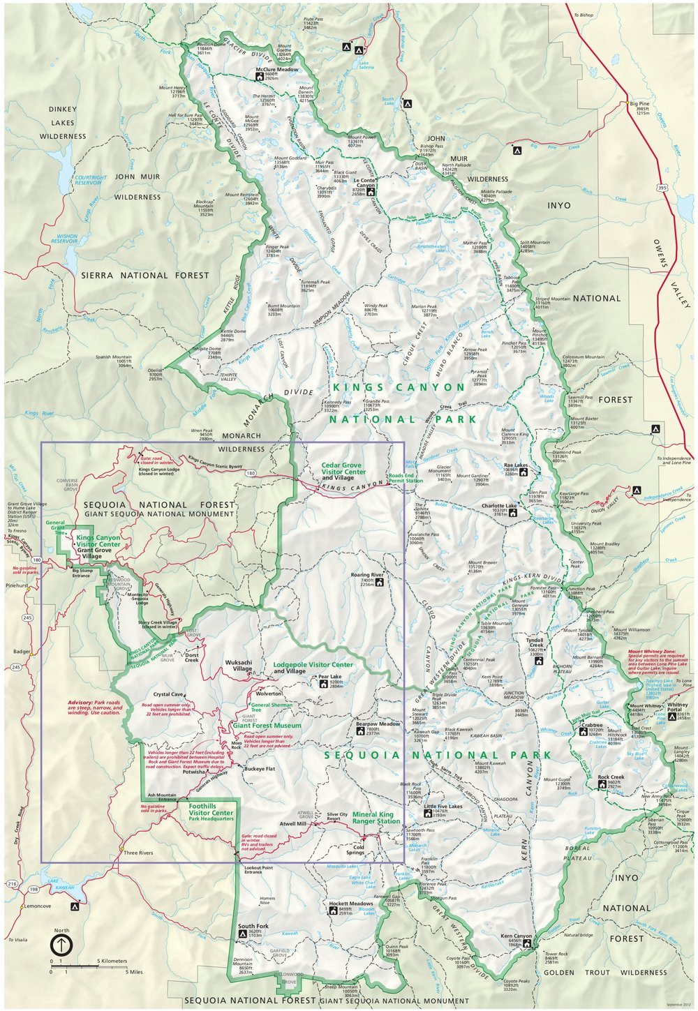 Sequoia and Kings Canyon National Parks are just east of Fresno, CA. Map from the U.S. National Park Service.
