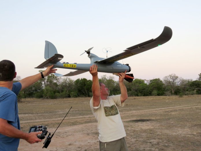 Launching a surveillance drone in Kruger National Park. Image from  SUAS