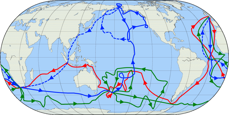Cook's 3 voyages. The first one in red, second one in green, and the third in blue (with the dotted line showing the voyage after Cook's death in Hawaii). Image by Jon Platek.